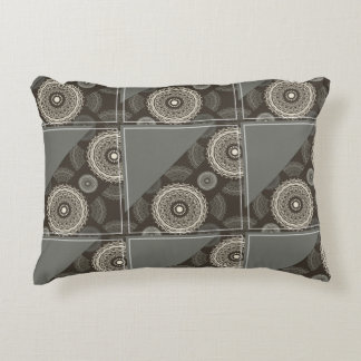 Silver Gray Taupe Circles Abstract Decorative Pillow