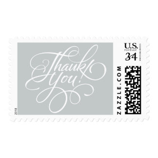 Silver Gray Thank You Postage Stamp