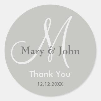 Silver Gray Thank You Wedding Monogram Seal