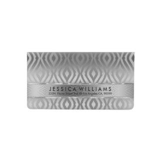 Silver Gray Tones Quatrefoil Geometric Pattern Checkbook Cover