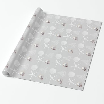 Christmas Themed Silver Gray Tropical Christmas Wrapping Paper
