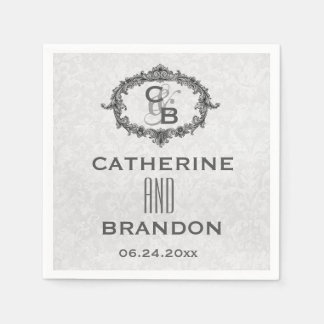 Silver Gray Vintage Frame Wedding Monograms A21F Napkin