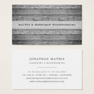 Silver Gray Vintage Reclaimed Wood Business Card