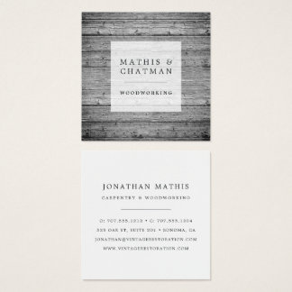 Silver Gray Vintage Reclaimed Wood Square Business Card