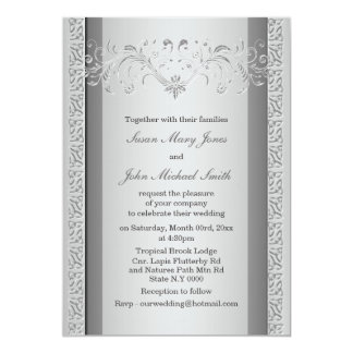 "Silver gray wedding engagement anniversary 5"" x 7"" invitation card"