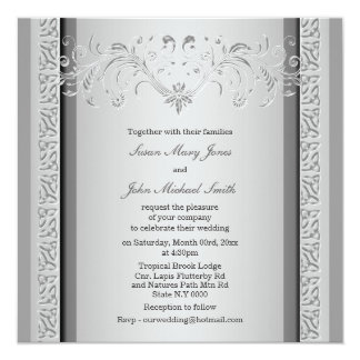 Silver gray wedding engagement anniversary SQUARE 5.25x5.25 Square Paper Invitation Card