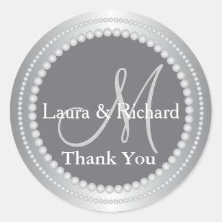 Silver Gray Wedding Favor Thank You Monogram Classic Round Sticker