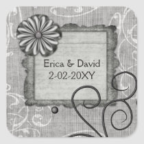 silver gray wedding label