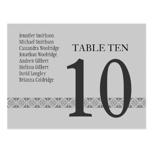 SILVER & GRAY  Wedding Table Number Card Reception Postcards