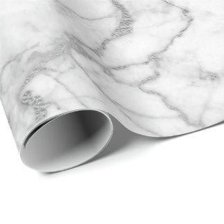 Silver Gray White Carrara Marble Stone Glam minima Wrapping Paper