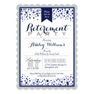 Silver Gray, White, Navy Blue Retirement Party Card