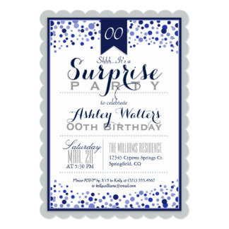 Silver Gray, White, Navy Blue Surprise Party Card