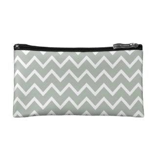 Silver Gray Zig Zag Chevron Cosmetic Bag