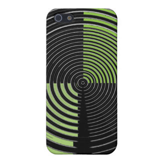 Silver Green and Black Circular Maze Pattern iPhone SE/5/5s Case