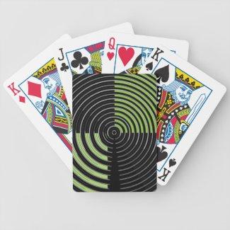 Silver Green and Black Circular Maze Pattern Card Deck