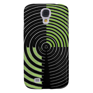 Silver Green and Black Circular Maze Pattern Samsung Galaxy S4 Cover