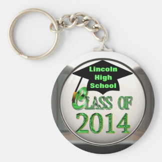 Silver Green Class Of 2014 Keychain
