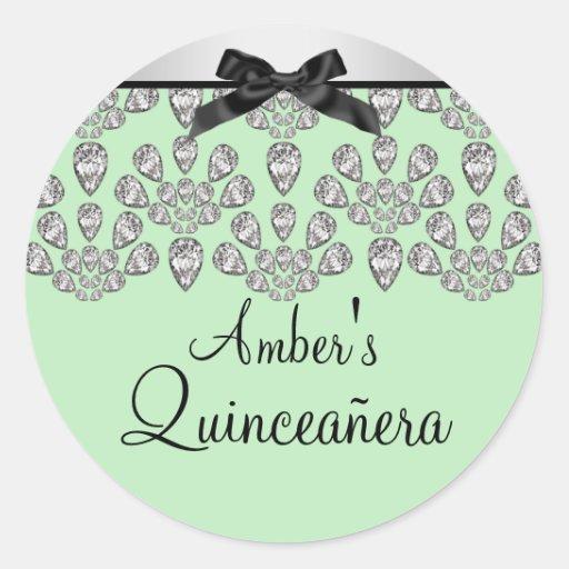 Silver/Green Forever Diamonds Quinceañera Sticker