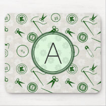 Silver Green Sewing Pattern with Monogram Mouse Pad