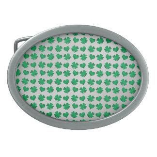 Silver green shamrocks and hearts belt buckle