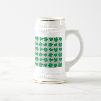 Silver green shamrocks and hearts 18 oz beer stein