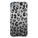 Silver Grey and Black Leopard Spots Barely There iPhone 6 Case