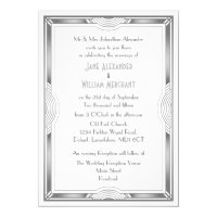 Silver Grey and White Art Deco Wedding Invitation