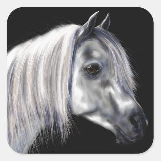 Silver Grey Arabian Horse Square Sticker
