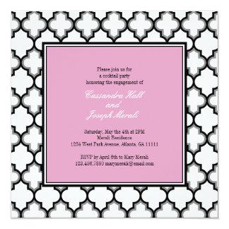 Silver Grey, Black & White Invitation, Pink Invitation