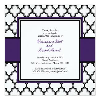 Silver Grey, Black & White Invitation, Purple Card