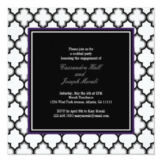 Silver Grey, Black & White Invitation, Purple Invitation