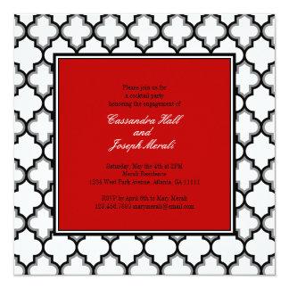 Silver Grey, Black & White Tuxedo Invitation, Red Card
