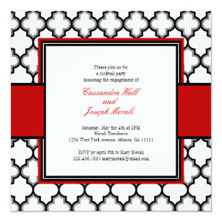 Silver Grey, Black & White Tuxedo Invitation, Red Invitation