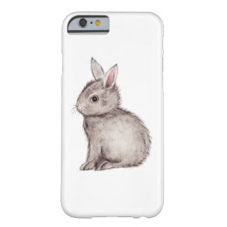 Silver grey bunny rabbit watercolor painting barely there iPhone 6 case