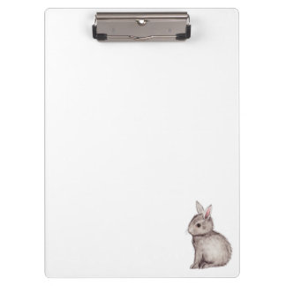 Silver grey bunny watercolor painting clipboard