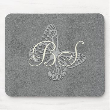 Beach Themed Silver Grey Butterfly Add Initials Mousepad