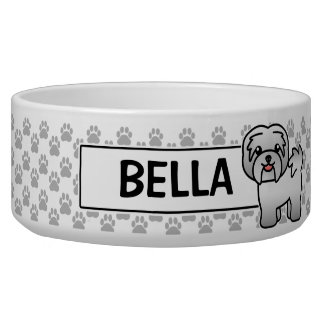 Silver Grey Cartoon Havanese Dog Bowl