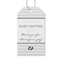 Silver Grey Chevron Baby Shower Thank You Gift Tags