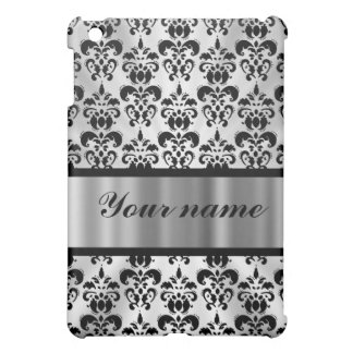 Silver grey damask cover for the iPad mini