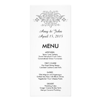Silver grey damask custom wedding menu damask1 full color rack card
