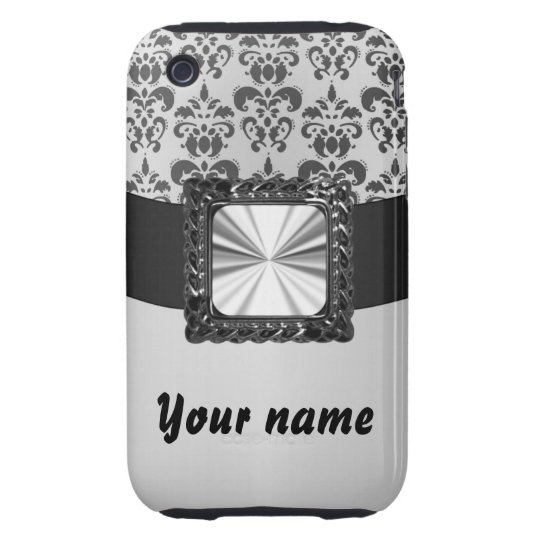 Silver grey damask customizable iPhone 3 tough case