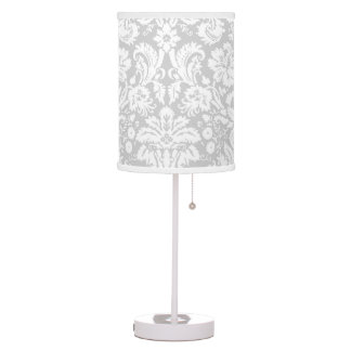 Silver Grey Damask pattern Table Lamps