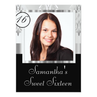 Silver grey damask sweet sixteen card