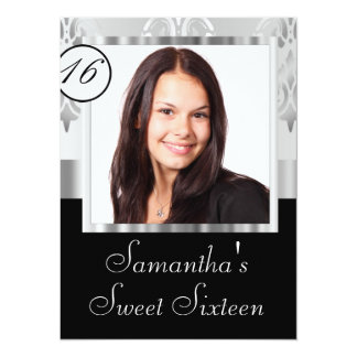 Silver grey damask sweet sixteen card