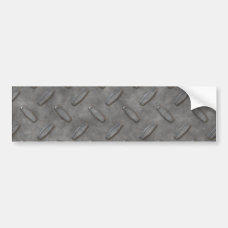 Silver Grey Diamond Plate Textured Bumper Sticker