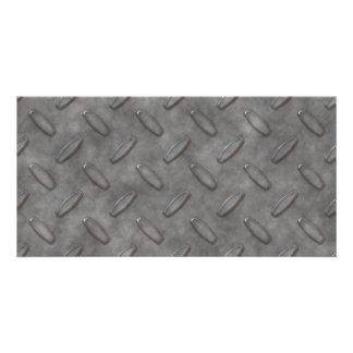 Silver Grey Diamond Plate Textured Card