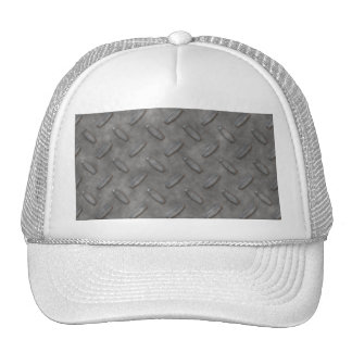Silver Grey Diamond Plate Textured Hats