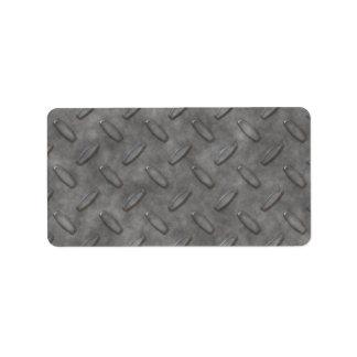 Silver Grey Diamond Plate Textured Label