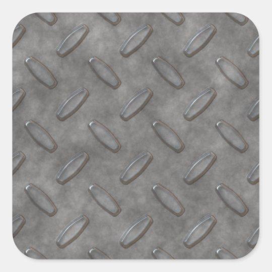 Silver Grey Diamond Plate Textured Square Sticker