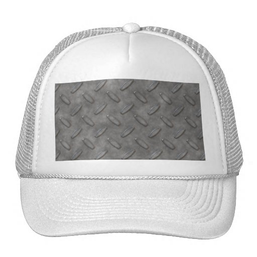 Silver Grey Diamond Plate Textured Trucker Hat